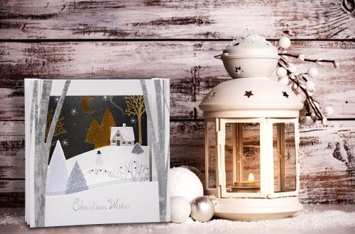 Cristmas lantern with snow